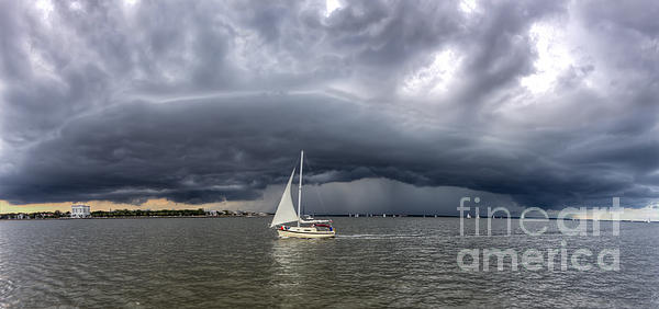 Amazing Storm Clouds And Sailboat Charleston Sc Print by Dustin K Ryan
