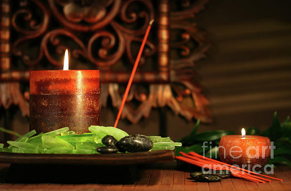 Amber Colored Candles Print by Sandra Cunningham