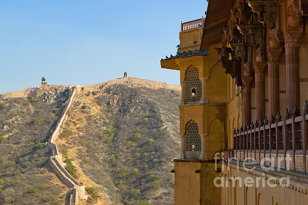 Amber Fort And Wall Print by Inti St. Clair