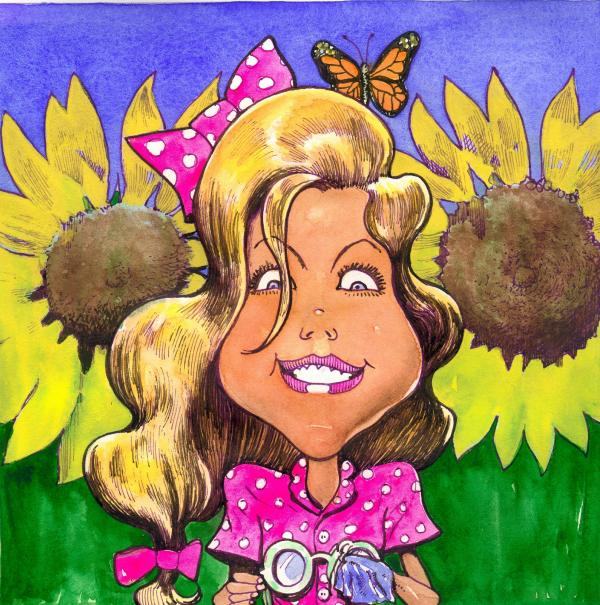 Amelia In Sunflowers Painting  - Amelia In Sunflowers Fine Art Print