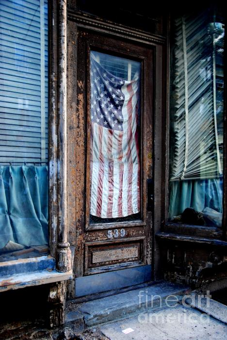 American Flag Door Photograph  - American Flag Door Fine Art Print