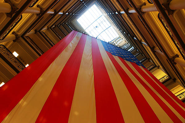 American Flag In Marshall Field's Print by Paul Ge