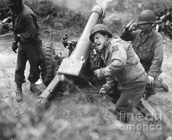 American Howitzers Shell German Forces Print by Stocktrek Images
