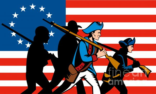 American Revolutionary Soldier Marching Print by Aloysius Patrimonio