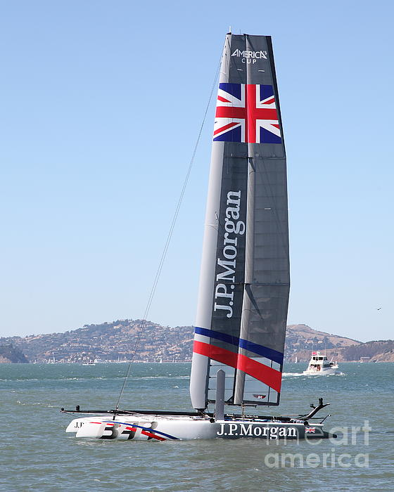 America's Cup In San Francisco - Great Britain Ben Ainslie Racing Sailboat - 5d18248 Print by Wingsdomain Art and Photography
