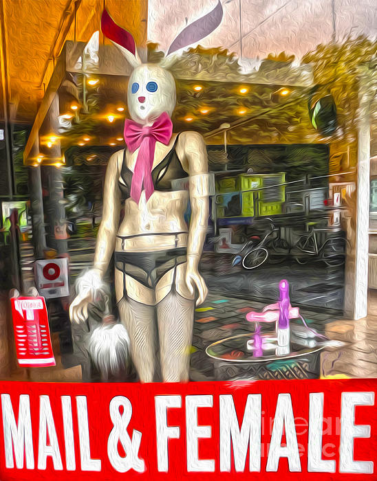 Amsterdam Bunny In Lingerie  Print by Gregory Dyer