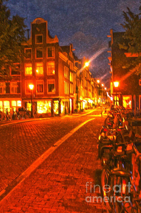 Amsterdam By Night - 02 Print by Gregory Dyer