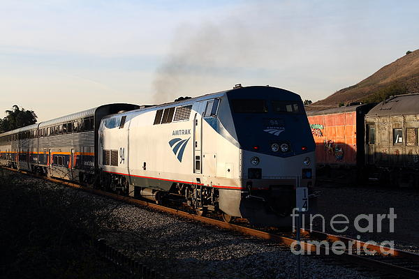 Amtrak Trains At The Niles Canyon Railway In Historic Niles District California . 7d10856 Print by Wingsdomain Art and Photography