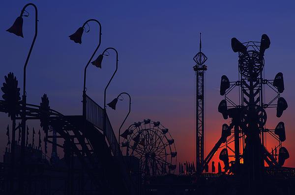 Amusement Ride Silhouette Print by Michael Gass
