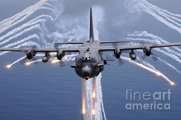 An Ac-130h Gunship Aircraft Jettisons Print by Stocktrek Images