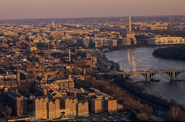 An Aerial View Of D.c. And The Potomac Print by Kenneth Garrett