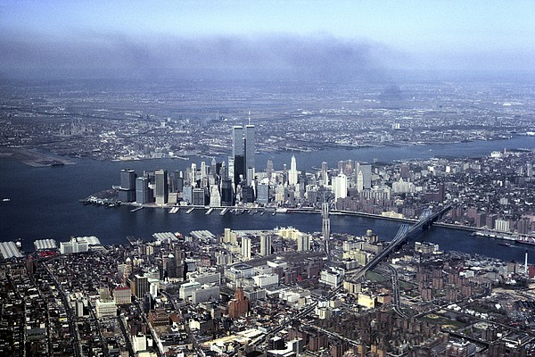 An Aerial View Of The Twin Towers Print by Rex A. Stucky