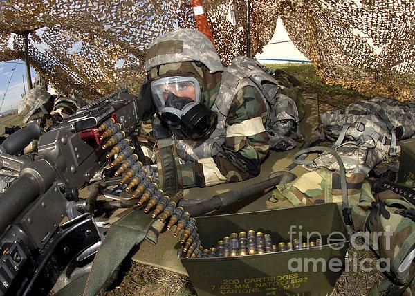 An Airman Defends Her Position Firing Print by Stocktrek Images