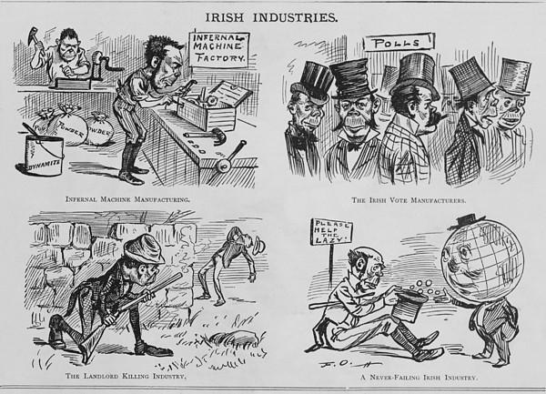 An Anti-irish Cartoon Entitled Irish Print by Everett