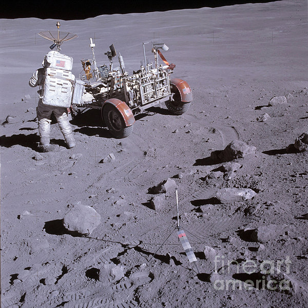 An Astronaut And A Lunar Roving Vehicle Print by Stocktrek Images