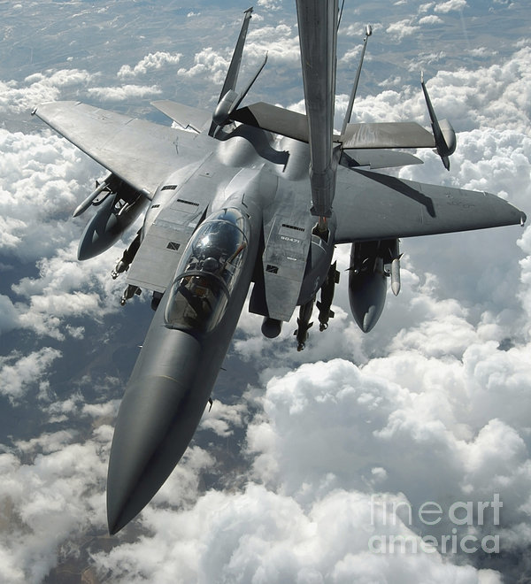 An F-15 E Strike Eagle Receives Fuel Print by Stocktrek Images