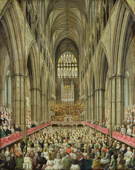 An Interior View Of Westminster Abbey On The Commemoration Of Handel's Centenary Print by Edward Edwards