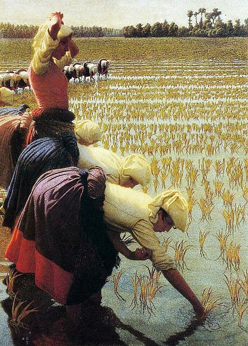 An Italian Rice Field Print by Angelo Morbelli