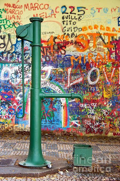 An Old Pump And Lennon Wall In Prague Print by Hideaki Sakurai