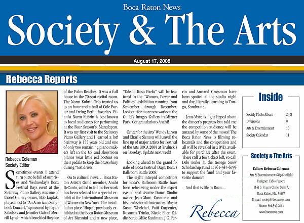 Anahi Decanio Featured In Boca Raton News Print by Anahi DeCanio