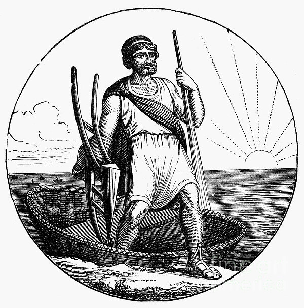 Ancient Briton Coracle Print by Granger