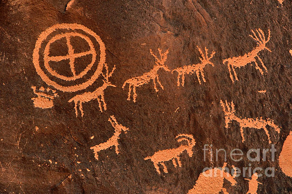 Ancient Indian Petroglyphs Print by Gary Whitton