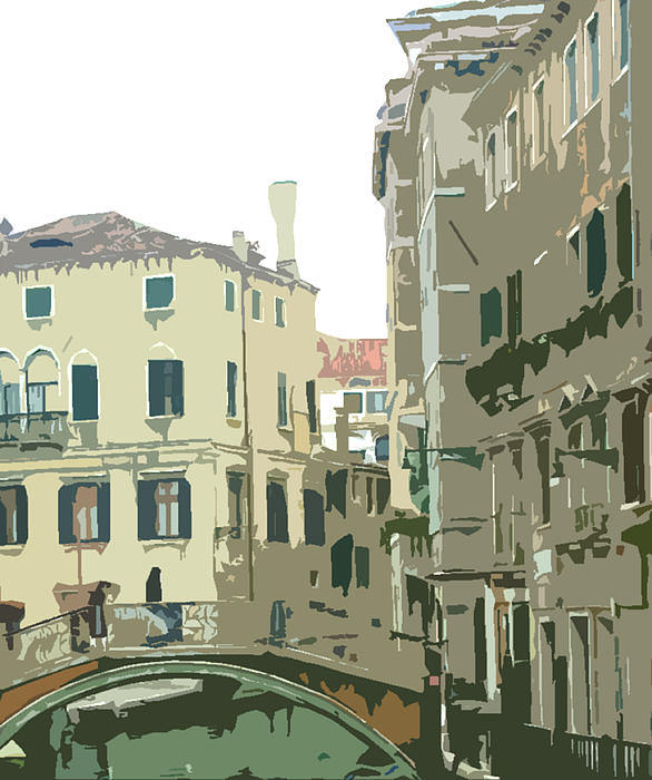 Ancient Italian Canal In Venice Print by Mindy Newman