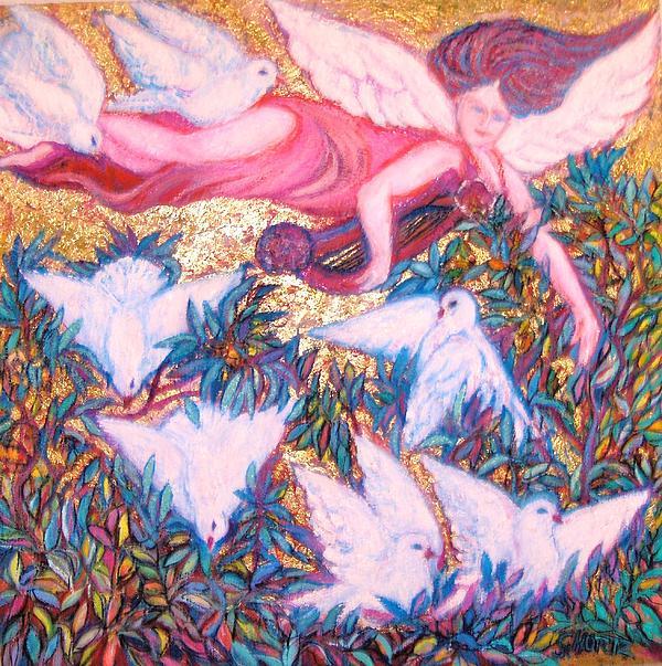 Angel Guarding Theseven7 Virtues II - Art Deco Print by Gunter  Hortz