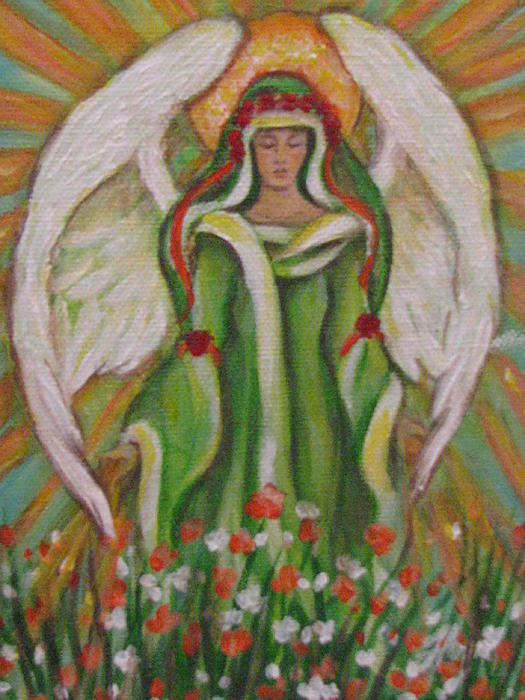 Angel In The Garden Print by Radha Flora Cloud