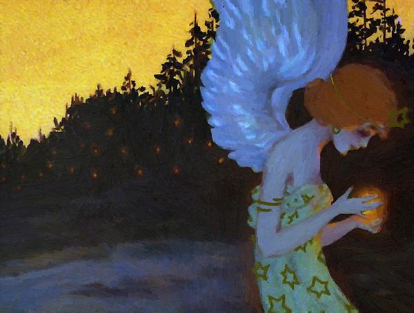 Angel In The Night Print by Stefan Kuhn