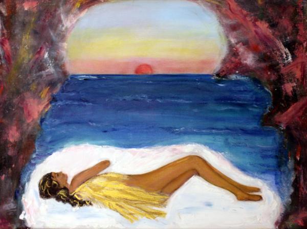 Sleeping Painting By Michaela Akers Angel Fine Art Prints