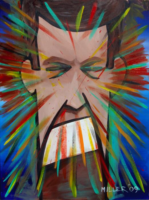 Painting of a man screaming