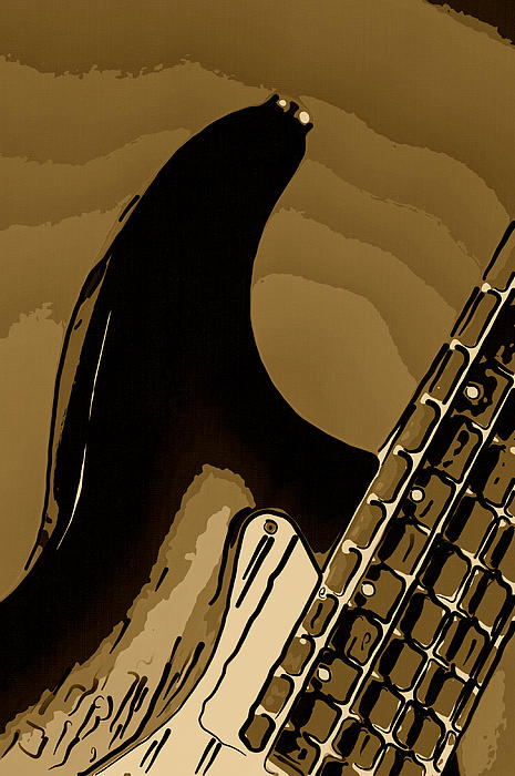 Antique Guitar Print by M K  Miller