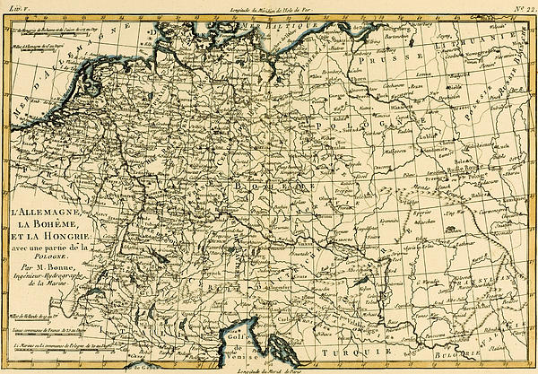 Antique Map Of Germany Bohemia And Hungary With Part Of Poland Print by Guillaume Raynal