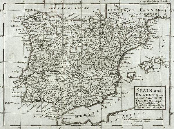 Antique Map Of Spain And Portugal Print by Hermann Moll