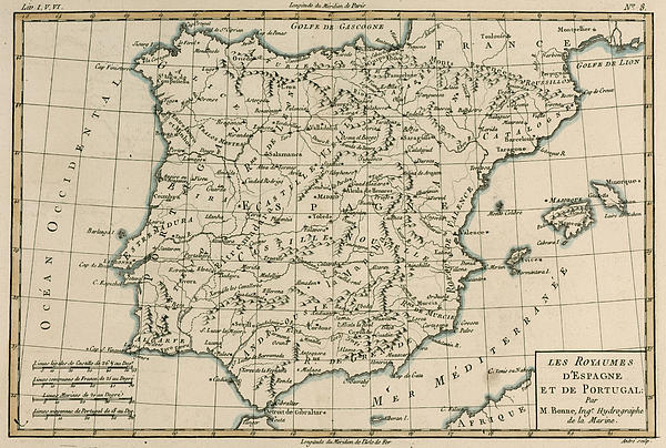 Antique Map Of Spain Print by Guillaume Raynal
