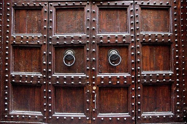 Antique Wood Door In Florence Print by Giuseppe Ceschi