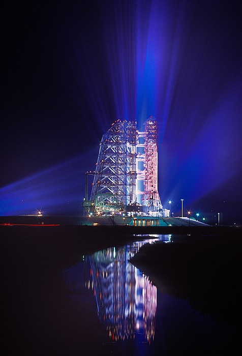 Apollo 11 Sits On Its Launchpad Print by O. Louis Mazzatenta