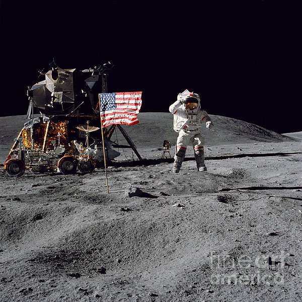 Apollo 16 Astronaut Leaps Print by Stocktrek Images