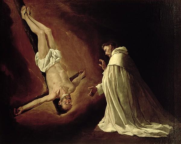 Appearance Of Saint Peter To Saint Peter Nolasco Print by Francisco de Zurbaran