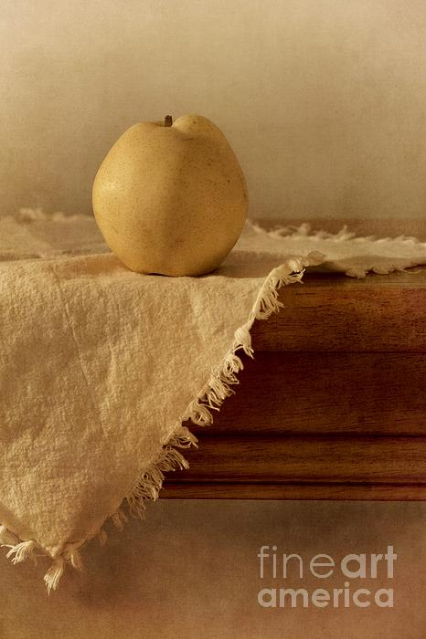 Apple Pear On A Table Print by Priska Wettstein