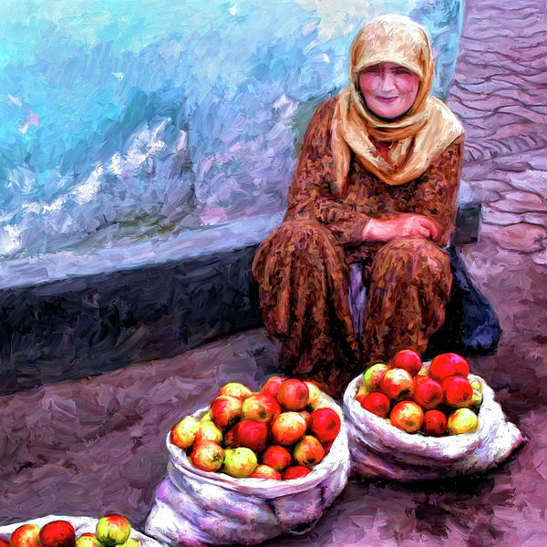 Apple Seller Painting  - Apple Seller Fine Art Print