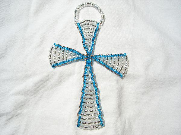 Aqua Wall Hanging Glass Beaded Suncatcher Copper Cross Print by Serendipity Pastiche