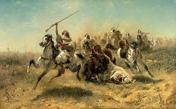 Arab Horsemen On The Attack Print by Adolf Schreyer