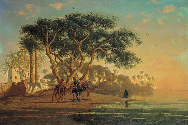 Arab Oasis Print by Narcisse Berchere