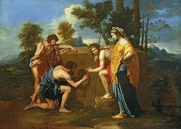 Arcadian Shepherds Print by Nicolas Poussin