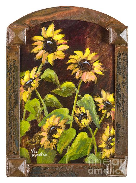 Arched Sunflowers With Gold Leaf By Vic Mastis Print by Vic  Mastis