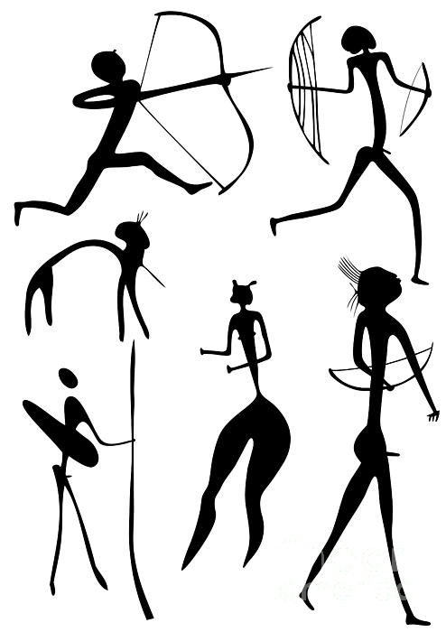 Archer And Other Figures Print by Michal Boubin