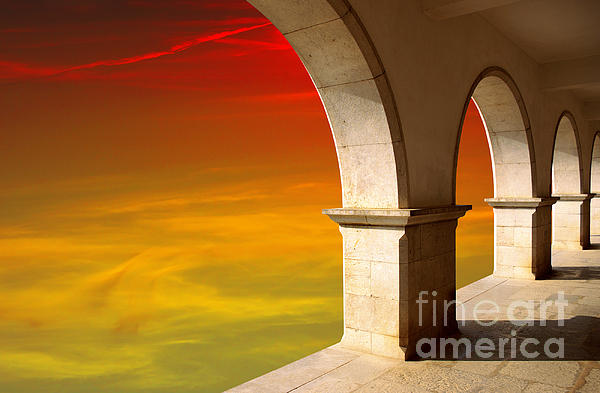 Arches At Sunset Print by Carlos Caetano