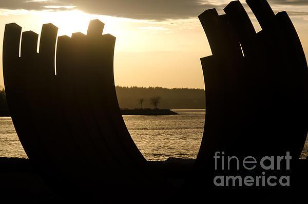 Arcs Sunset Bernar Venet Sculpture Sunset Beach Park Vancouver Bc Canada Print by Andy Smy